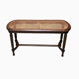 Louis XVI Style Oak and Cane Bench, 1950s