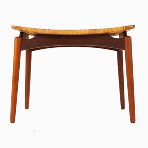 Danish Teak and Cane Stool by Sigfred Omann for Ølholm Møbelfabrik, 1950s
