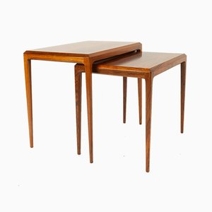 Vintage Danish Rosewood Nesting Tables by Johannes Andersen for CFC Silkeborg, 1950s, Set of 2