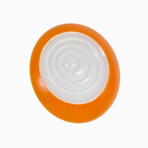 Vintage Round Orange and White Glass Sconce, 1970s