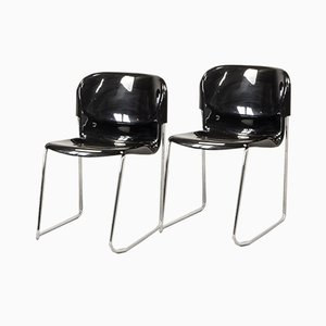 Mid-Century German Black Stacking Chairs by Gerd Lange for Drabert, 1980s, Set of 5