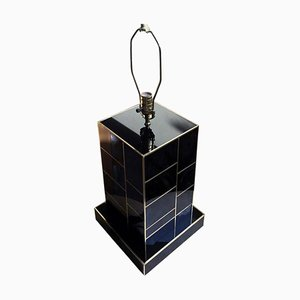 Black Mirrored and Brass Table Lamp by Zenza Art & Deco