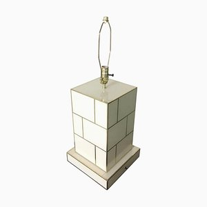White Cream Mirrored and Brass Table Lamp by Zenza Art & Deco
