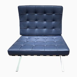 Vintage Barcelona Blue Lounge Chair by Ludwig Mies van der Rohe for Knoll Inc. / Knoll International, 1980s