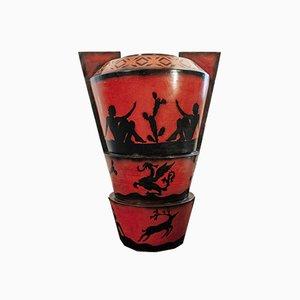 Italienische Art Deco Vase Lenci Ceramiche, 1930er