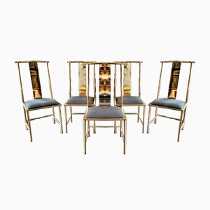 British Black and Gold Dining Chairs, 1980s, Set of 5