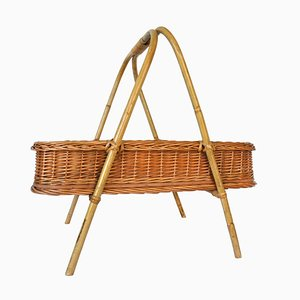 Mid-Century Rattan Side Table Tray with Handle, 1960s