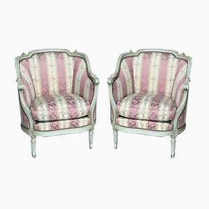 French Bergere Lounge Chairs, Set of 2