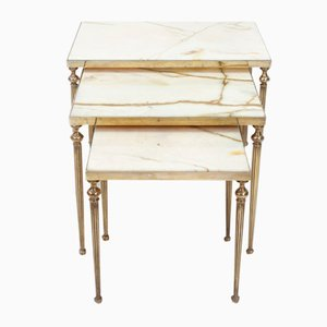 Brass and Marble Nesting Tables, 1950s, Set of 3
