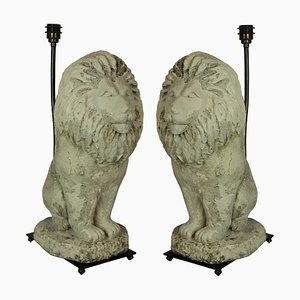Vintage Stone Lion Lamps, Set of 2