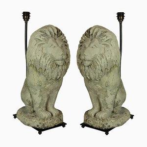 Vintage Stone Lion Lamps, Set of 2
