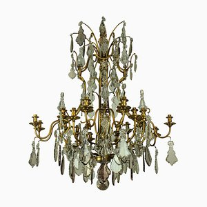 Large Vintage French Brass and Cut Glass Chandelier from Baccarat, 1950s