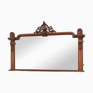 Antique Victorian Mahogany Overmantle Mirror