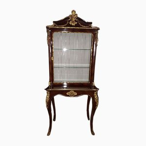 Antique Napoleon III French Mahogany, Gilt Bronze, and Glass Display Cabinet