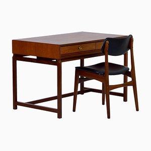 Danish Desk with Chair in Teak, 1960s, Set of 2