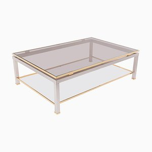 Coffee Table in Brass and Metal in the Style of Jean Charles, France, 1980s