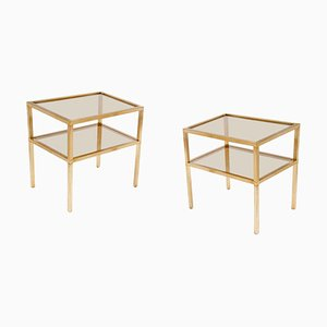 Gold Sides Tables or Nightstands in Brass and Metal, France, 1970s, Set of 2