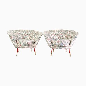 Mid-Century Italian Clam Shell Armchairs, 1950s, Set of 2