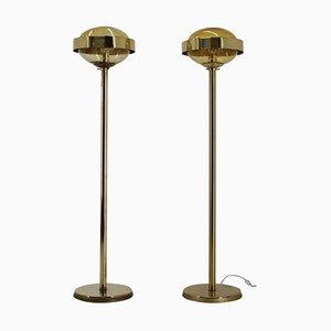 Preciosa Gold Floor Lamps, Czechoslovakia, 1970s, Set of 2