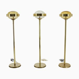 Preciosa Gold Floor Lamps, Czechoslovakia, 1970s, Set of 3