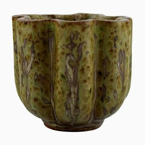 Green and Brown Glazed Ceramic Vase by Arne Bang, 1940s