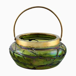 Art Nouveau Green Art Glass Bowl with Brass Mounting and Handle from Lötz