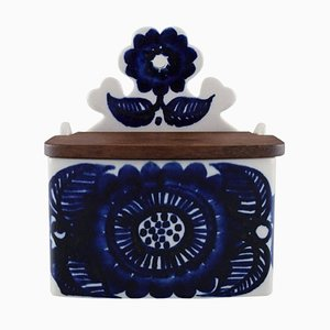 Porcelain Salt Box with Blue Floral Decor by Gunvor Olin Gronqvist for Arabia, 1960s