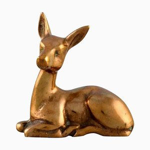 Vintage Art Deco Bronze Lying Deer Sculpture by Peter Hald