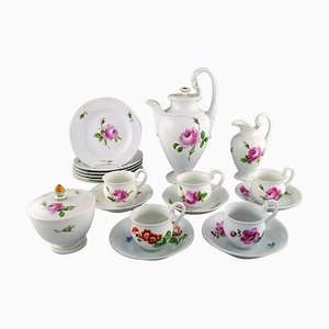 German Pink Rose Porcelain Coffee Service, Set of 18