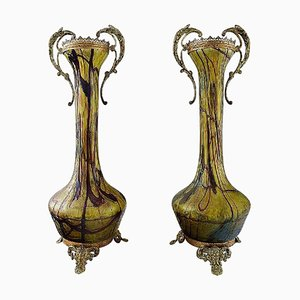Large Art Nouveau Art Glass Vases with Bronze Fittings, 1900s, Set of 2