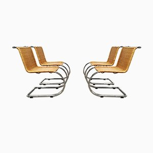 MR10 Rattan & Chrome Chairs by Mies van der Rohe for Knoll Inc. / Knoll International, 1970s, Set of 4