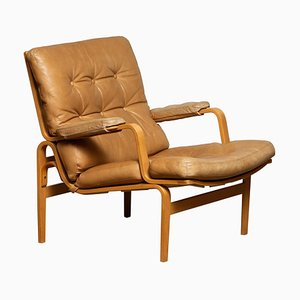 Swedish Beech and Leather Lounge Chair by Bruno Mathsson for Dux, 1960s