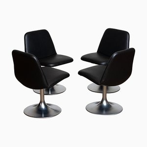 Swedish Black Model Vinga Swivel Chairs by Börje Johanson, 1970s, Set of 4