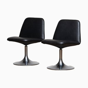Swedish Black Model Vinga Swivel Chairs by Börje Johanson, 1970s, Set of 2