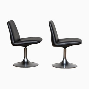 Black Model Vinga Swivel Chairs by Börje Johanson, 1970s, Set of 2