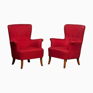 Swedish Fuchsia Lounge Chairs by Carl Malmsten for OH Sjogren, 1940s, Set of 2