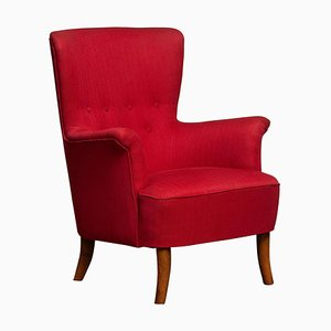 Swedish Fuchsia Lounge Chair by Carl Malmsten for OH Sjogren, 1940s
