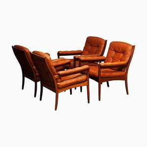 Swedish Cognac Leather Lounge Chairs from Göte Möbler, 1960s, Set of 4