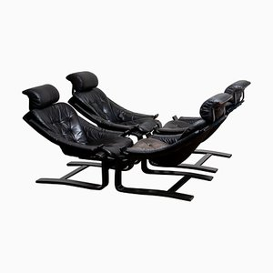 Swedish Leather Model Kroken Lounge Chairs by Ake Fribytter for Nelo, 1974, Set of 4
