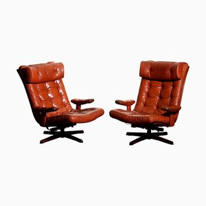 Cognac Leather Swivel Relax Lounge Chairs by Göte Design Nässjö, 1960s, Set of 2
