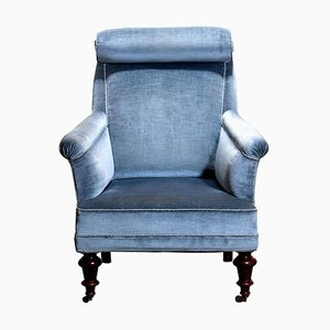 Ice Blue Velvet Bergère Lounge Chair in the Style of Dorothy Draper, 1900s