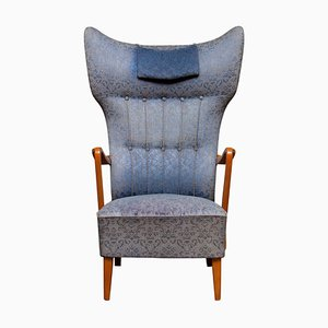 Art Nouveau Swedish Wingback Chair in Oak with Extra High Backrest, 1920s