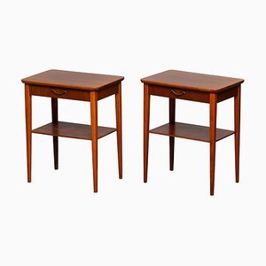 Scandinavian Mahogany Nightstands with Brass Handles, 1960s, Set of 2
