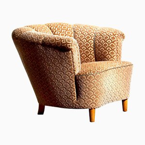 Velvet Jacquard Club Lounge Cocktail Chair, Sweden, 1940s