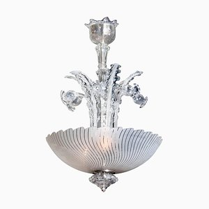 Art Nouveau Crystal Art Glass Chandelier by Fritz Kurz for Orrefors, Sweden, 1940s