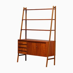 Teak Bookcase Cabinet Secretaire with Beech Stands, 1950s