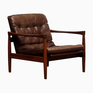 Teak and Brown Leather Lounge Chair by Erik Wörtz for Bröderna Anderssons, 1960s