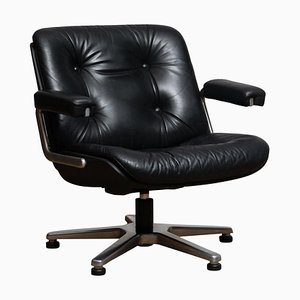Black Leather Model 7065 Swivel Chair by Martin Stoll for Giroflex Stoll, 1960s