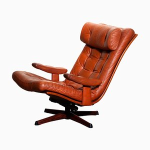 Cognac Leather Swivel Lounge Chair by Göte Design Nässjö, 1960s