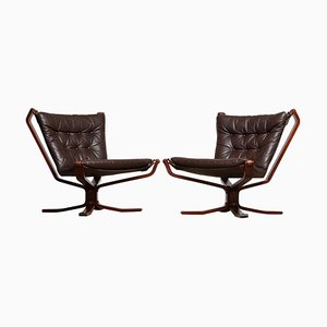 Dark Brown Leather Falcon Lounge Chairs by Sigurd Resell, Denmark, 1970s, Set of 2